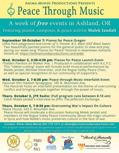 Peace through music free events flyer